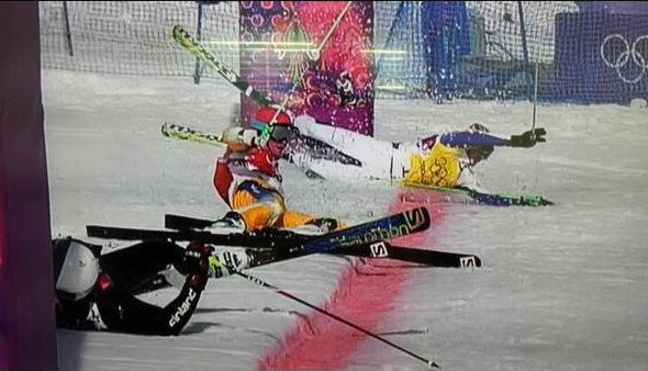 Skiing Falling Finish Line
